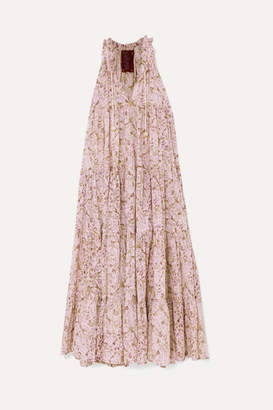 Yvonne S Hippy Tiered Printed Cotton Maxi Dress - Pink