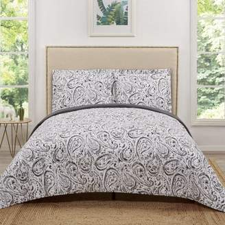 Truly Soft Watercolor Paisley Grey Twin Extra Long Quilt Set