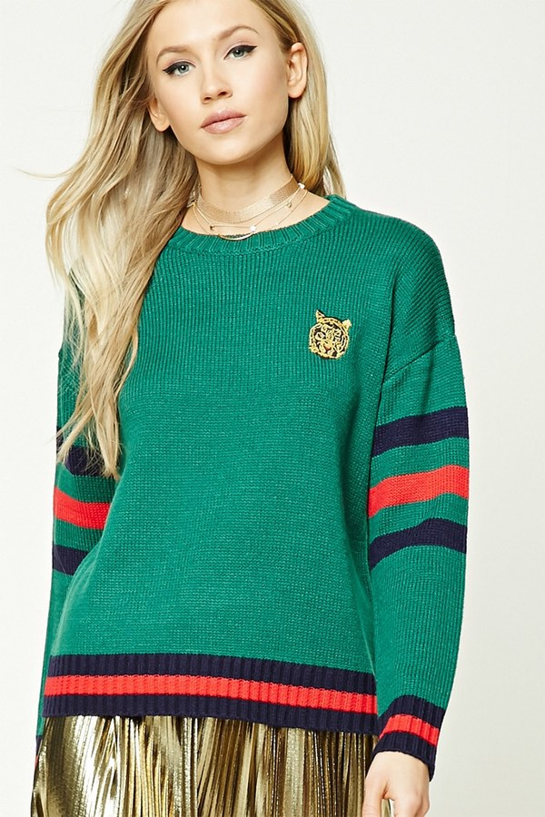 FOREVER 21+ Tiger Embroidery Stripe Sweater