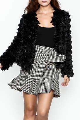 She + Sky Black Faux Fur Jacket