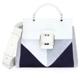Tod's Viv Cabas Colorblock Suede Top Handle Bag