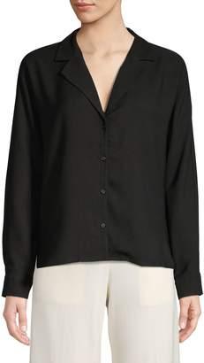 Halston H Long-Sleeve Button Front Blouse