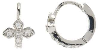 Shashi Faith 18K White Gold Plated Sterling Silver Crystal Accented Cross Huggie Hoop Earrings