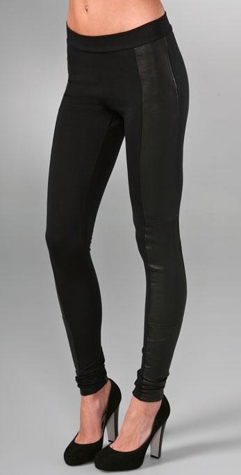 Alice + Olivia Leather Combo Leggings