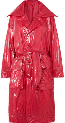 Unravel Project Belted Shell Raincoat - Red