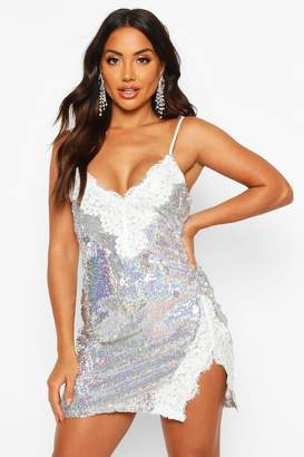 boohoo Sequin Lace Mix Slip Mini Dress