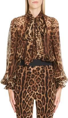 Dolce & Gabbana Leopard Print Tie Neck Silk Blouse