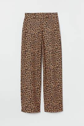 H&M Wide-cut Jersey Pants - Beige