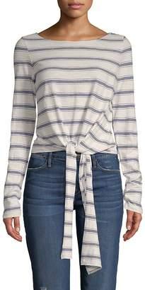 Max Studio Women's Tie Hem Striped T-Shirt