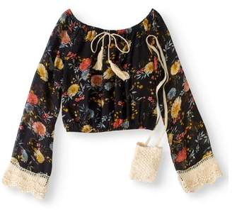 Pink Velvet Girls' Peasant Blouse With Crochet Pouch