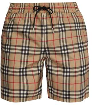 Burberry Guildes Check Print Swim Shorts - Mens - Camel