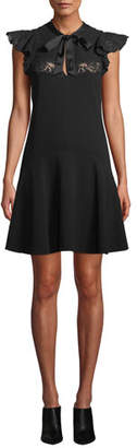 Rebecca Taylor Sleeveless Crepe Tie-Neck Lace Short Dress