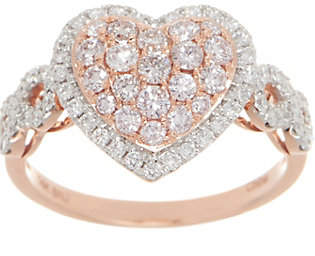 Affinity Diamond Jewelry Affinity Natural Pink Heart Ring, 1.00cttw,14K Gold