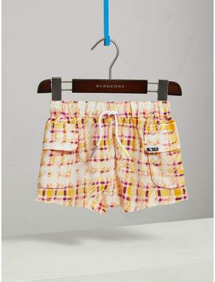 Burberry Scribble Check Silk Drawstring Shorts , Size: 12Y, Yellow
