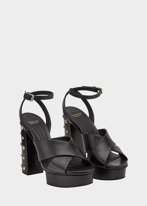 Versace Studded Heel Cross-Strap Sandals