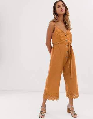 Miss Selfridge broderie jumpsuit with belt in orange
