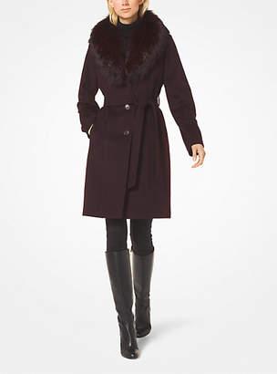 Michael Kors Wool-Blend Fur-Collar Coat