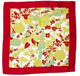 Burberry Floral Print Silk Scarf Red Floral Print Silk Scarf