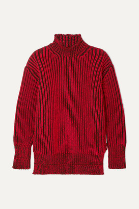 Balenciaga Oversized Ribbed Wool Turtleneck Sweater - Red