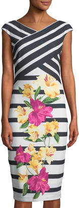 Jax Striped & Floral Sheath Dress