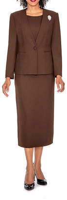 GIOVANNA SIGNATURE Giovanna Signature Women's 3-piece Microfiber Collarless Skirt Suit - Plus