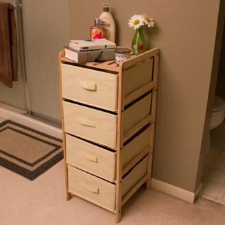 Lavish Home Organization Wood Fabric 3, 4, or 5 Drawer Unit with Shelf Top