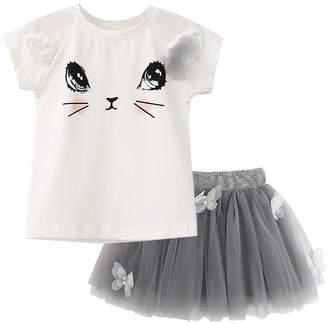 Jobakids Little Girls Tutu Skirt Dress Summer Cotton Cute Clothing Set