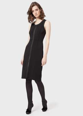 Emporio Armani Crepe Tube Dress With A Full Length Zip At The Front