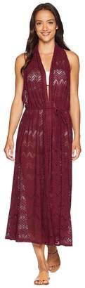 Vince Camuto Summer Lattice Geo Lace Wrap Midi Cover-Up Dress Women's Swimwear