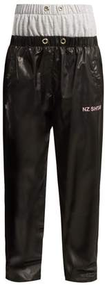 Natasha Zinko Double Front Jersey And Nylon Track Pants - Womens - Black Grey