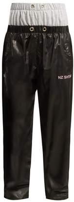 Natasha Zinko Double Front Jersey And Nylon Track Pants - Womens - Black Grey