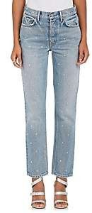 GRLFRND Women's Helena Embellished Straight Crop Jeans - Lt. Blue