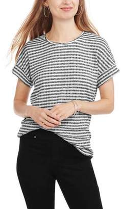 Mia Kaye Women's Short Sleeve Scoopneck Roll Tab Striped T-Shirt