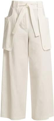 Thom Browne Tie-waist wide-leg cotton trousers