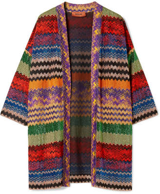 Missoni Metallic Crochet-knit Cardigan - Red