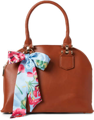 Imoshion Cognac Scarf-Accented Dome Vegan Satchel