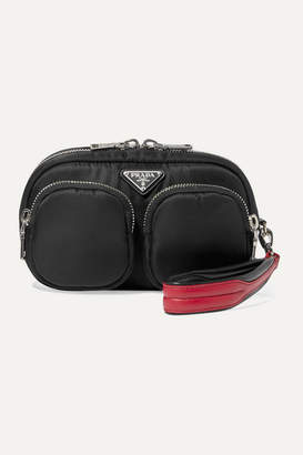 Prada Leather-trimmed Nylon Clutch - Black