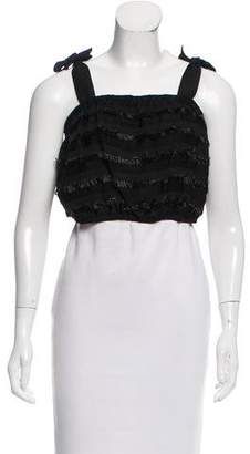 Behnaz Sarafpour Fringe-Accented Linen-Blend Top w/ Tags