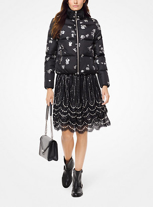 Michael Kors Metallic Rose Print Puffer Jacket