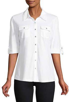 Karen Scott Elbow Sleeve Button Front Shirt