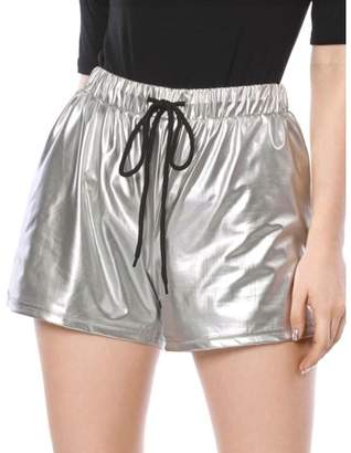 Unique Bargains Women's Drawstring Elastic Waist Metallic Shorts Silver M