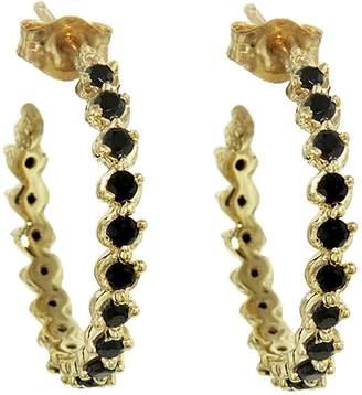 Ruta Reifen Black Spinel Anne Hoop Earrings - Yellow Gold