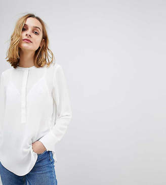 Warehouse Button Side Collarless Blouse