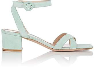 Gianvito Rossi Women's Suede Ankle-Strap Sandals - Turquoise