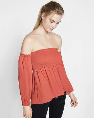 Express Smocked Off The Shoulder Peasant Sleeve Blouse