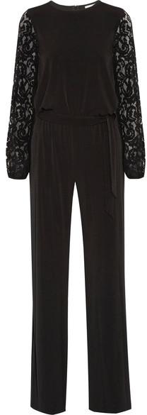MICHAEL Michael Kors - Guipure Lace-paneled Stretch-jersey Jumpsuit - Black