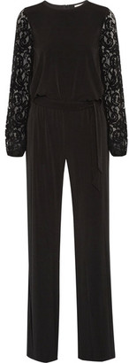 MICHAEL Michael Kors - Guipure Lace-paneled Stretch-jersey Jumpsuit - Black $155 thestylecure.com