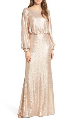 Tadashi Shoji Blouson Long Sleeve Sequin Evening Dress