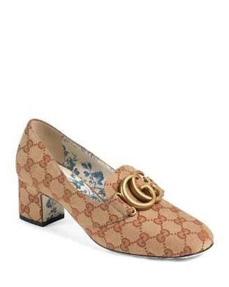 4c5434551 Gucci Original GG Canvas Block-Heel Loafer Pumps