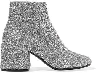 MM6 MAISON MARGIELA Bead-embellished Leather Ankle Boots - Silver